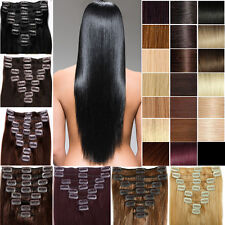Excellent Full Head 7PCS Clip In Remy Human Hair Extensions Black Brown US Ship