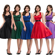 VINTAGE Solid Color 50's Rockabilly Satin Retro Swing Party pinup Evening Dress