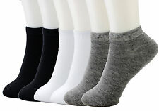 6-12 Packs Ankle Socks Cotton Mens Womens Size 9-11 10-13 Low Cut Dozen Stretch