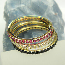 9ct or 14ct Solid Yellow Gold Eternity Rings Size H to S Engagement Band Ring
