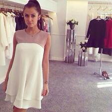 Women Chiffon Dress Summer Casual Sleeveless Ruffle Hem Party Loose Dress