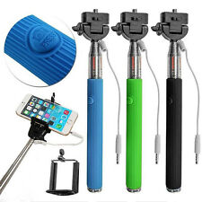 Extendable Wired Remote Shutter Handheld Selfie Stick Monopod For iPhone ipod