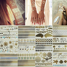 Temporary Flash Tattoos Inspired Body Art Makeup Sticker Gold & Silver Metallic