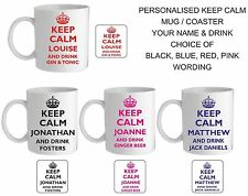 PERSONALISED KEEP CALM MUG/COASTER,YOUR NAME & DRINK/EAT,BLACK, BLUE, RED, PINK