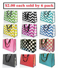 "6 pack Tote Bags Reusable Bags Beach Bag Fashion Bag Size 20x15x7"" $12.00"