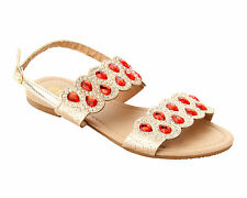 WOMENS GOLD GLITTER DIAMANTE PARTY SUMMER HOLIDAY SANDALS LADIES UK SIZE 3-8