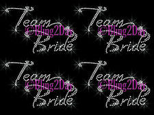 Lot of 3, 4, 5, 6,..Team Bride Iron On Rhinestone Transfer Wedding Party Bridal
