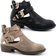 Ladies Womens New Low Flat Heel Zip Up Cut Out Goth Ankle Biker Boots Shoes Size