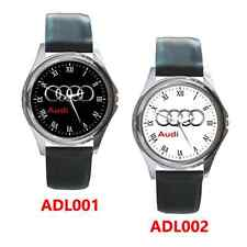 New AUDI Car LOGO Round Metal Watch Leatherband