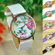 Fashion Women Watches Leather Analog Quartz Wristwatch Rose Flower Casual Watch