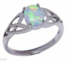 White Moon Fire Opal Infinity Celtic Oval Cut Birthstone Sterling Silver Ring