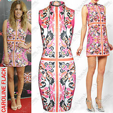 WOMENS LADIES PINK FLORAL PRINT DRESS POLO NECK SLEEVELESS BODYCON VEST DRESSES