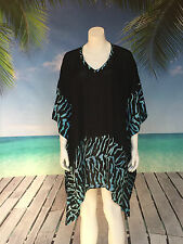 Short Kaftan top | tunic top | plus size | zebra animal print black | Holley Day