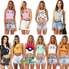 Mujer Sports Cartoon Print Crop Shirt Chaleco Vest Tee T-shirt Camisas y tops