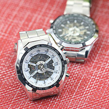 Men's New Fashion Steel Hand-Winding Skeleton Automatic Mechanical Wrist Watch
