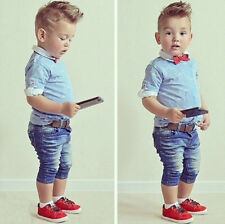 Outfits & Sets! 2PCS Kid Baby Boys Short sleeve T-shirt + jeans Clothes Fit 2-7Y