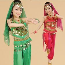 Kids Girls Belly Dance Costume Outfit Bollywood Indian Oriental Dance Carnival