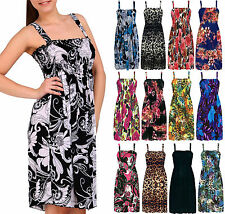 Womens Floral Printed Mini Strappy Sundress Ladies Shirred Cover Up Dress 8-18