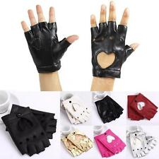 Women Heart Hollowed Out Half Finger Gloves Fingerless Stud Punk Dance Hippie