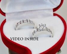 Brilliant Cut 1.CT 2PCS Engagement Ring Wedding Ring Fine S.S.925 Made in Italy