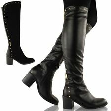 WOMENS LADIES WIDE LEG KNEE HIGH MID CALF BLOCK HEEL RIDING BOOTS STRETCH SHOE