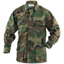 VINTAGE MILITARY ISSUE BDU SHIRT WOODLAND CAMO HUNTING Airsoft Construction