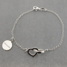 925 Solid Sterling Silver Interlinked Hearts Bracelet With Personalised Disc