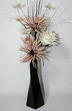 Artificial Silk Flower Arrangement Mink Cream Flowers Brown, Black & Cream Vase