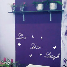 Live Love Laugh Butterfly Art Wall Quote Stickers, Wall Decals Words Lettering b