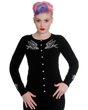 Hell Bunny Skelebird Cardigan Hirondelle Squelette Tatouage Rockabilly Pinup