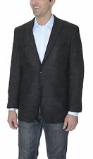 Tasso Elba Black Textured Wool Blend Blazer Sportcoat With Peak Lapels