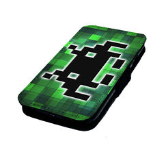 Space Invader Pixelated Printed Faux Leather Flip Phone Cover Case
