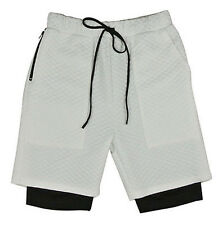 EPTM EPITOME CONTEMPOARY CLOTHING WHITE QUILT SCUBA 2 LAYER  SHORTS $68 JOGGER