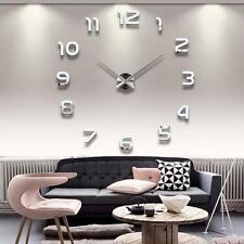 New Fashion Large Number Wall Clock Diy 3D Mirror Sticker Home Decor Art murales