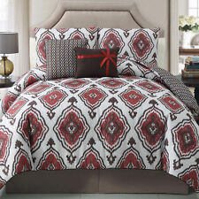 NEW Bed Bag Full Queen King 5 pc Red Brown White Damask Southwest Comforter Set
