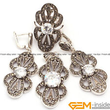 Flower Stone Antiqued Tibetan Silver Marcasite Jewelry Set Ring Pendant Earring