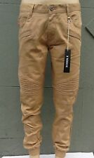 Kayden K Men's Slim Fit Khaki Wax Biker  Jogger Pants Size 30~38