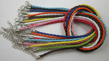 wholesale fashion Braid Leather Cord Necklace Lobster Clasp Chain 46x0.3cm