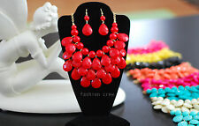 Briolette Teardrop J Bead Bubble Bib Statement Necklace Earrings by Fashion Crew