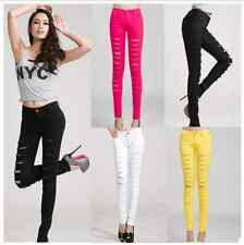 Sexy Womens Jeans Ripped Punk Destroyed Cutout Pants Denim Skinny Slim Stretchy