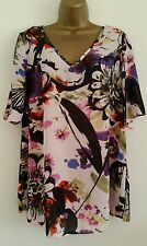 NEW Size 16-20 Brush Floral Print Purple Ivory Blue Chiffon Top Blouse