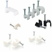 Round and Flat White & Black Cable Clips 4mm-14mm with Fixing Nails Clip Tidy