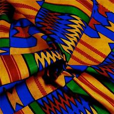 Kente Print Cloth Cotton Fabric Veritable Wax Dyed, Bright Blue, Gold, Red