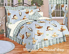 New! MEOW KITTY CATS FELINE BEDDING PLAID BLUE COMFORTER SET SHAMS & BED SKIRT