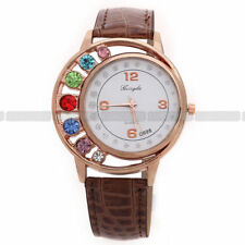 New 7 Color Lady Bling Crystal Fashion Womans Leather Quartz Analog Wrist Watch