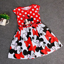 Baby Girl Minnie Mouse Summer Red Polka Sleeveless Kids Cute Party Dresses 2-7Y