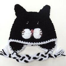 CROCHET CAT KITTY BABY EAR FLAP HAT infant toddler adult beanie cap photo prop