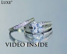 Royal*2.85Carat 2 Pieces Engagement Ring Set Wedding Ring Platinum Made in italy