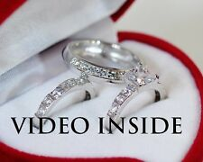 3.08Carat Wedding Ring Set Engagement Diamond Ring Platinum Finish Made in Italy