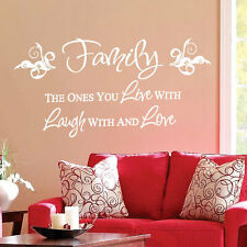 Family Live Love Laugh Art Wall Quote Stickers, Wall Decals Words Lettering